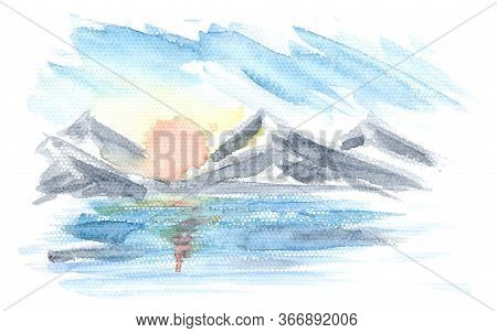 Abstract Horizontal Watercolor Sunrise Marine Landscape With Mountains, Water, Sun And Clouds. Brigh