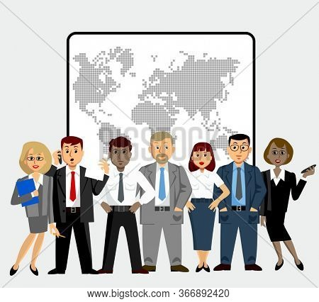 Office staff of different nationalities. Lawyers, economists, presidents, bank employees and entrepreneurs.