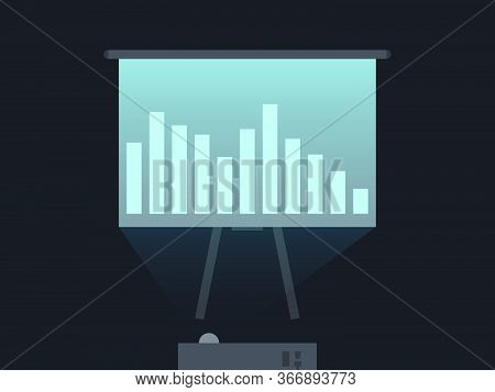 Projector Screen Business Presentation. Office Flipchart. Light From The Projector On The Screen. Ve