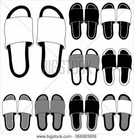 Beach Slippers Icon Isolated On White Background. Premium Quality Isolated Home Shoes Element In Tre