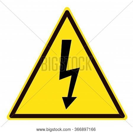 High Voltage Icon On White Background. Flat Style. Hazardous Voltage Icon For Your Web Site Design,