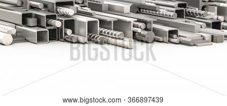 metal profiles of different types and sections. steel and aluminum. 3d render. nobody around.