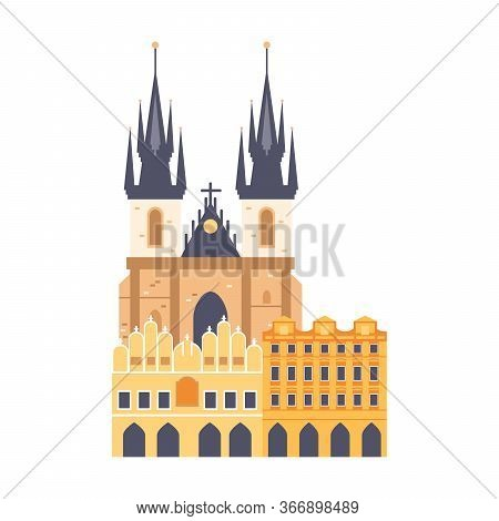 Logo Of Saint Vitus Cathedral In Czech Republic. Prague Travel And Voyage Around Europe Collection.