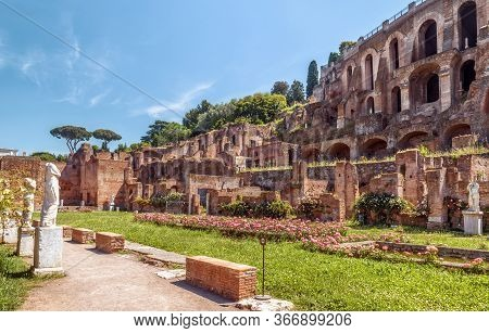 Roman Forum View In Summer, Rome, Italy. Old Forum Is Famous Tourist Attraction Of Rome, Great Ancie
