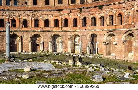 Trajan's Forum And Market Building, Rome, Italy. It Is Famous Tourist Attraction Of Rome. Great Ruin