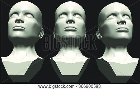 Mannequin Woman Head Vector 0...