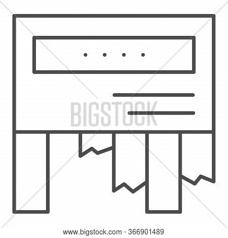 Tear-off Ad Thin Line Icon. Tear Off Paper Notice On The Wall Symbol, Outline Style Pictogram On Whi