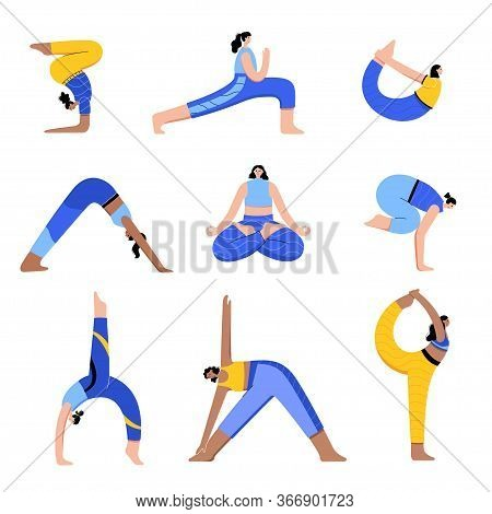 Set Of Women Performing Yoga Exercises At Home Or At Work. Different Isolated Poses. Adult Female Ca