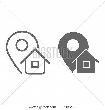 Address Line And Solid Icon, Logistics Symbol, Map Pointer With House Vector Sign On White Backgroun