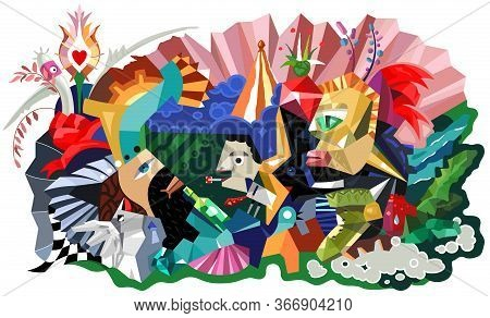 Abstract Painting Cubism Style. Graphic Design Poster With Abstract Form Birds, Persons And Plants.