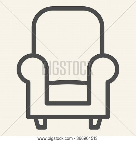 Soft Chair Line Icon. Comfortable Classic Armchair Symbol, Outline Style Pictogram On Beige Backgrou
