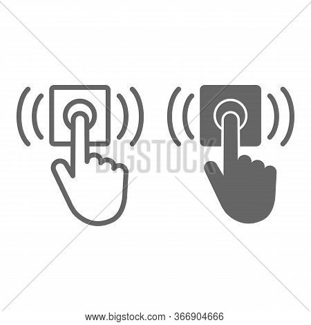 Ring Door Bell Line And Solid Icon, Delivery Symbol, Hand Push Bell Button Vector Sign On White Back