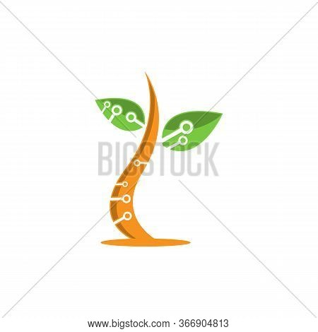 Tech Tree. Digital Technology Tree. Tech Tree Icon Vector. Tech Tree Logo Vector. Tech Tree Symbol.