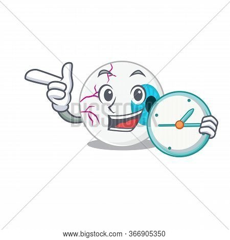 Mascot Design Style Of Eyeball Standing With Holding A Clock