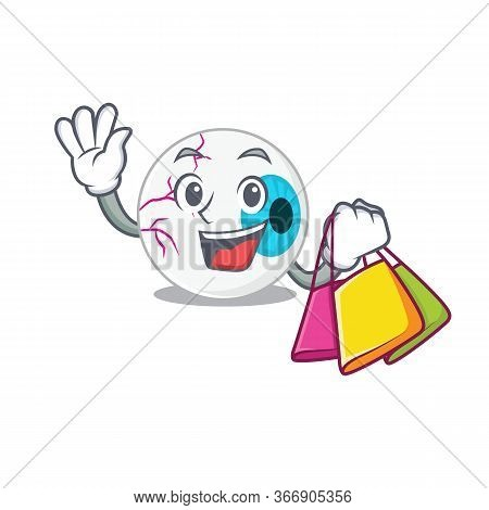 Wealthy Eyeball Cartoon Character With Shopping Bags