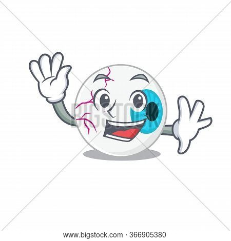 A Charming Eyeball Mascot Design Style Smiling And Waving Hand