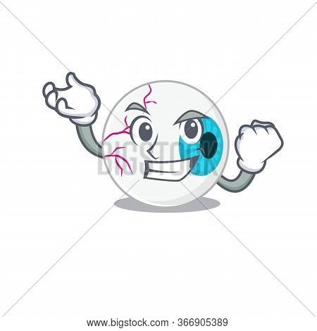 A Funny Cartoon Design Concept Of Eyeball With Happy Face