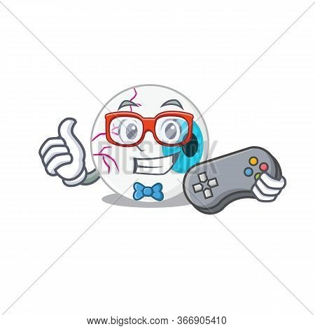 Mascot Design Style Of Eyeball Gamer Playing With Controller