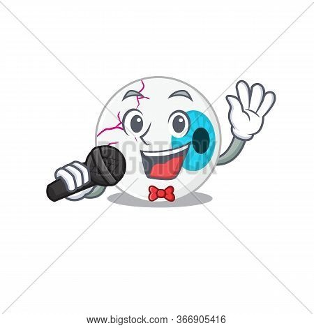 Cartoon Character Of Eyeball Sing A Song With A Microphone