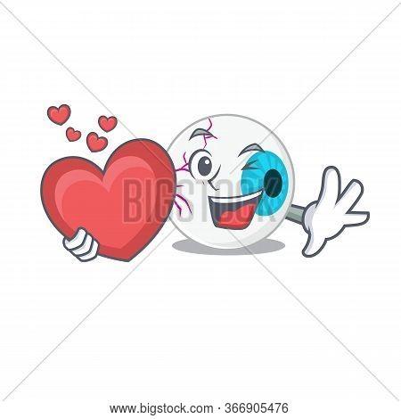 A Sweet Eyeball Cartoon Character Style Holding A Big Heart