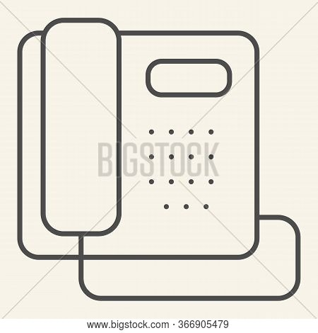 Phone Thin Line Icon. Hotel Or Office Retro Telephone Symbol, Outline Style Pictogram On Beige Backg