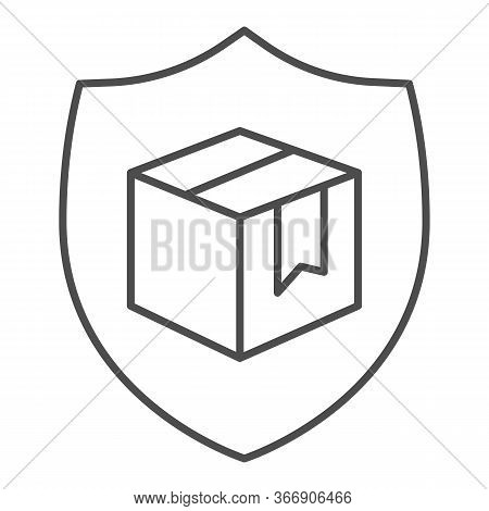 Box With Security Shield Thin Line Icon, Delivery And Logistics Symbol, Guaranteed Parcel Delivery V