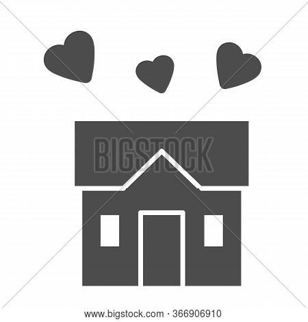 House Full Of Love Solid Icon, Sweet Home Concept, Building With Hearts Sign On White Background, Th