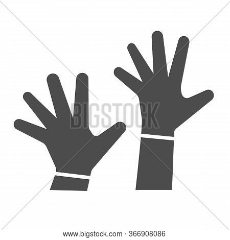 Children Hands Up Solid Icon, 1st June Children Protection Day Concept, Two Kids Palms In The Air Si