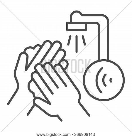 Hands Washing Under Sensor Faucet Thin Line Icon, Smart Home Technology Symbol, Motion Water Tap Wit