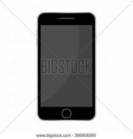 Black Screen Mobile Phone. Isolated Smartphone Vector. Mockup Style Template. Stock Photo.