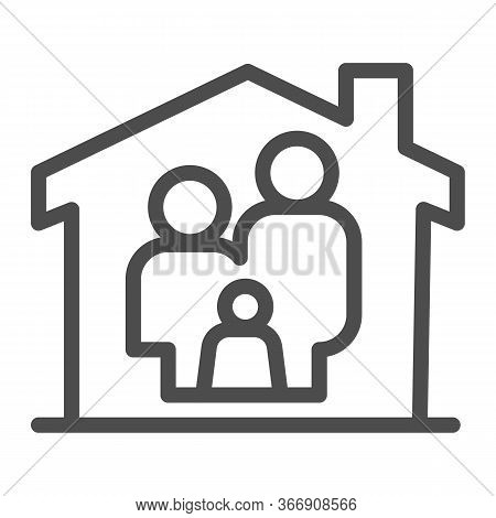 Family In House Line Icon, Family At Home Concept, Parents And Child Sign On White Background, Safe