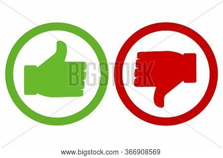 Icon Up, Icon Of Hostility. Green And Red Icons. Yes And No. Buttons Are Good And Bad. Vector Illust