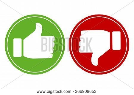 Thumb Up And Thumb Down Icon. Approval And Dislike. Vector Image Of A Green And Red Button. Stock Ph