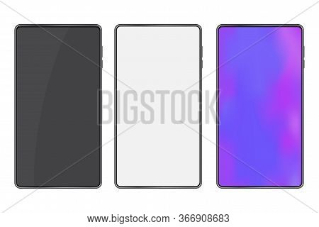 Three Mobile Phones Mocap Style. Vector Image Of A Smartphone. Blank Screen Cellphone. Stock Photo.