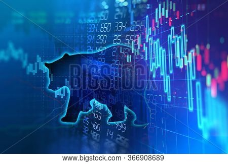 Silhouette Form Of Bear On Financial Stock Market Graph Represent Stock Market Crash Or Down Trend I