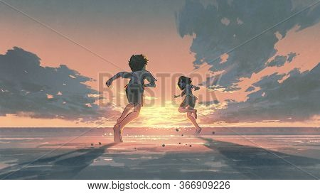 Boy And Girl Running On The Beach To See The Sunrise On The Horizon, Digital Art Style, Illustration