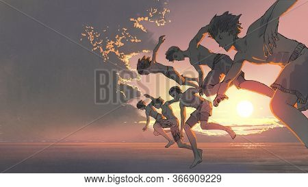 The Group Of Young Men Running And Jumping Into The Ocean Togetther At Sunset, Digital Art Style, Il