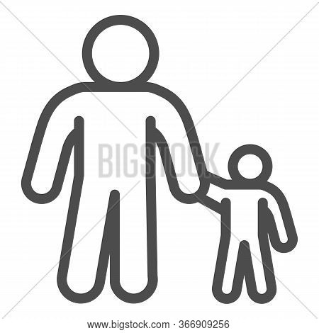 Father And Son Line Icon, 1st June Children Protection Day Concept, Parent And Kid Sign On White Bac
