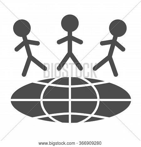 Children Around World Solid Icon, World Children Day Concept, Earth With Kids Vector Sign On White B