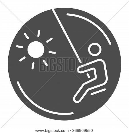 Child On A Swing Solid Icon, Playground Concept, Swinging Boy Vector Sign On White Background, Child