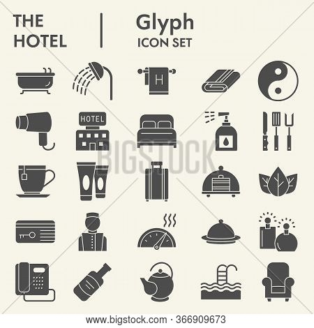 Hotel Solid Icon Set, Travel Symbols Set Collection Or Vector Sketches. Hotels Services Signs Set Fo