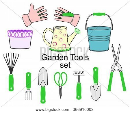 Set Of Garden Tools And Supplies, Farming Equipment On A White Background. Decorative Elements For D