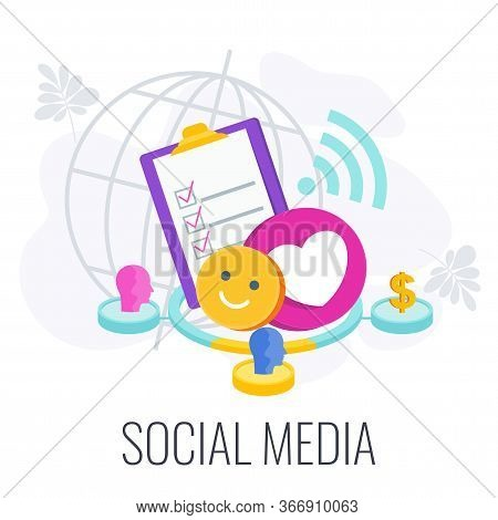 Social Media Infographics Pictogram. Global Community Of People With Similar Interests. Interactive
