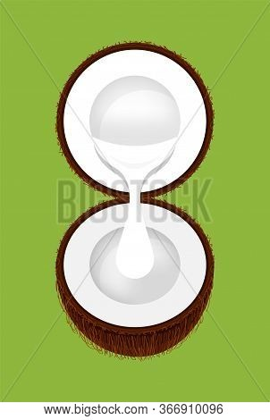 Coconut Half Cut And Coconut Milk White Drop Isolated On Green, Illustration Brown Coconut And Milk