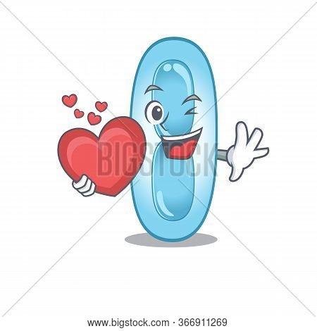 A Sweet Klebsiella Pneumoniae Cartoon Character Style Holding A Big Heart