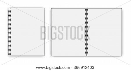 Empty Open Book. Closed White Notebook. Layout Booklet With A Spiral. Vector Image. Stock Photo.