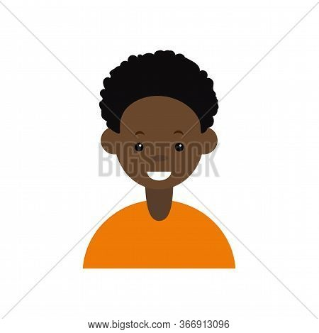 Afro Man Icon On White Background Vector Illustration. Cartoon Portrait Of A Afro Boy. Avatar Charac