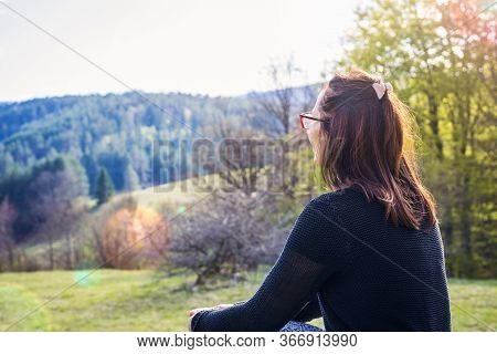 Beautiful Woman Smiling In Nature. Happy People Lifestyle. Beautiful Woman Relaxing In Nature In Sun