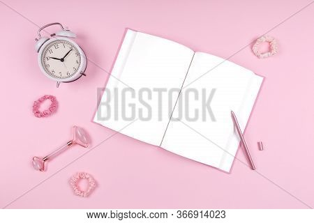 Journal With Stylish Pen, Jade Face Roller, White Clock And Pink Accessories. Beauty Time, Selfcare