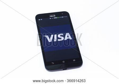 Kouvola, Finland - 23 January 2020: Visa Logo On The Screen Of Smartphone Asus
